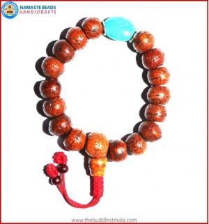 Brown Bodhi Seed Wrist Mala with Flat Turquoise Bead