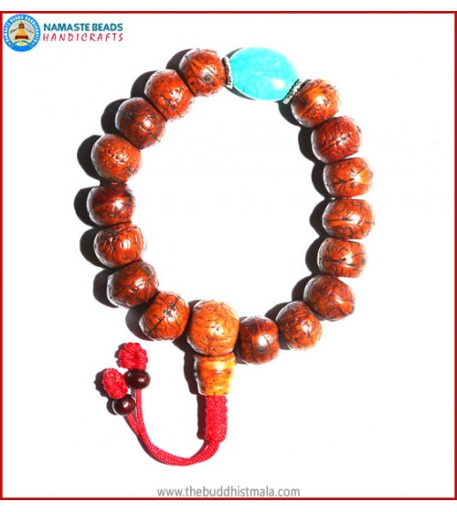 Brown Bodhi Seed Wrist Mala with Flat Turquoise Bead