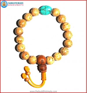 Indian Bodhi Seed Wrist Mala with Flat Turquoise Bead