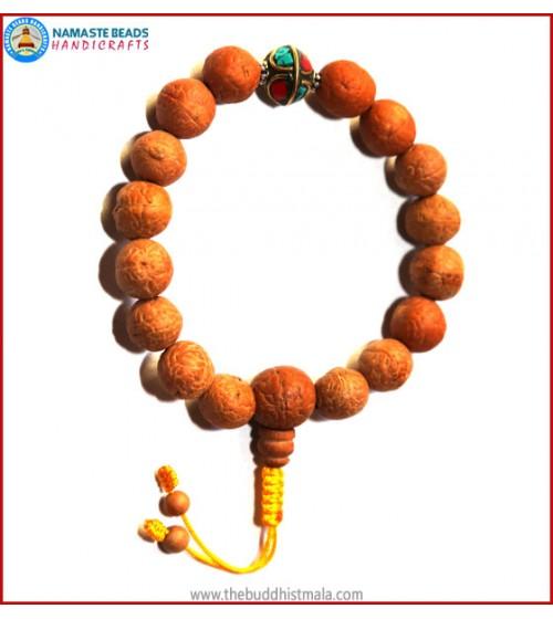 Natural Bodhi Seed Wrist Mala with Metal Inlays Bead