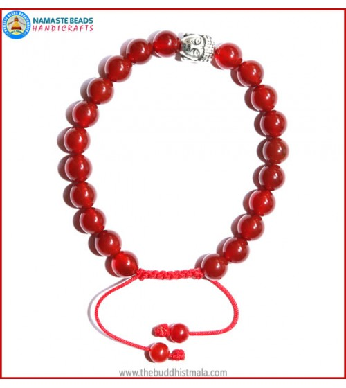 Carnelian Stone Bracelet with Buddha Head Bead