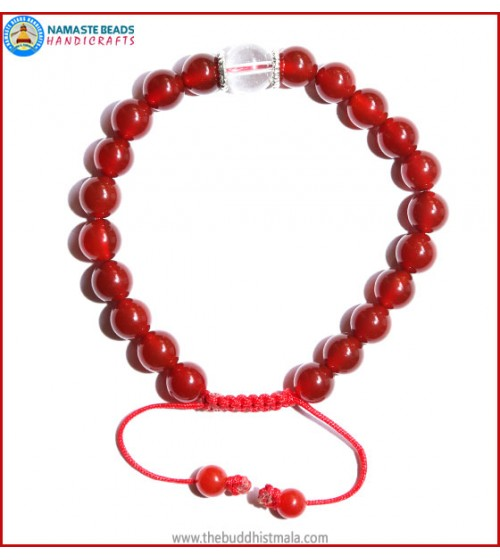 Carnelian Stone Bracelet with Crystal Bead