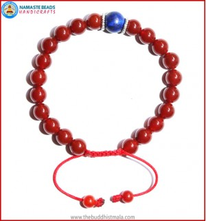 Carnelian Stone Bracelet with Lapis Lazuli Bead