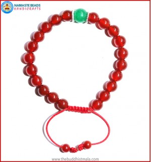 Carnelian Stone Bracelet with Green Jade Bead