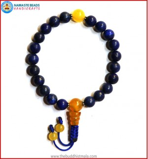 Afghani Lapis Lazuli Stone Wrist Mala with Yellow Jade Guru Bead