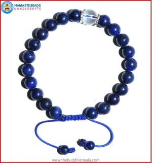 Afghani Lapis Lazuli Stone Bracelet with Crystal Bead