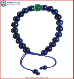 Afghani Lapis Lazuli Stone Bracelet with Green Jade Bead