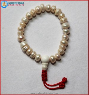 Pearl Wrist Mala with Adjustable Knot