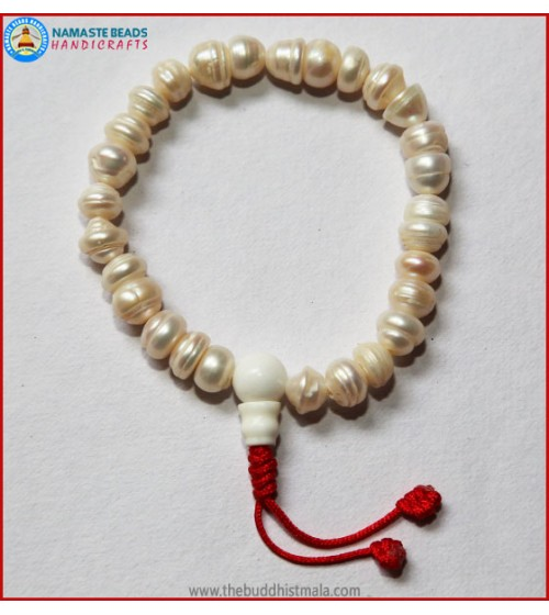 Pearl Wrist Mala with Fixed Knot