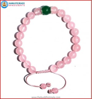 Rose Quartz Bracelet with Green Jade Bead