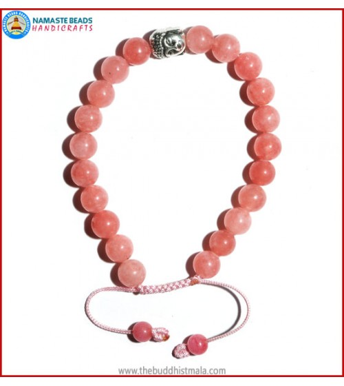 Rose Quartz Bracelet with Buddha Head Bead