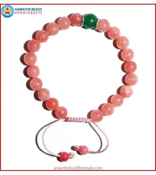 Rose Quartz Bracelet with Green Jade Bead