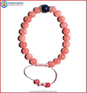 Rose Quartz Bracelet with Lapis Lazuli Bead
