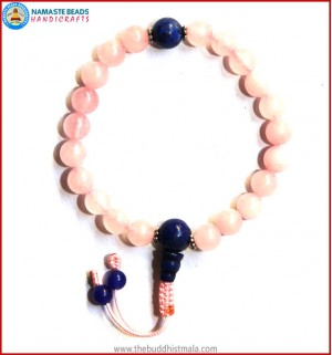 Rose Quartz Wrist Mala with Lapis Lazuli Guru Bead