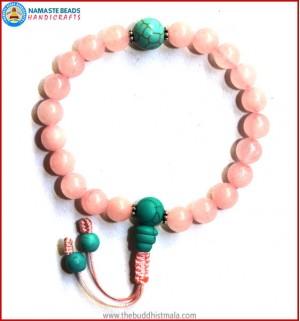 Rose Quartz Wrist Mala with Turquoise Guru Bead