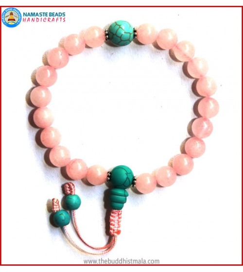 Rose Quartz Wrist Mala with Turquoise Guru Bead