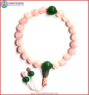 Rose Quartz Wrist Mala with Green Jade Guru Bead
