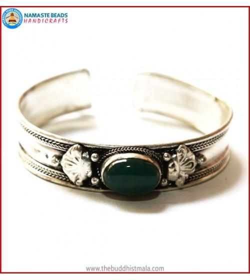 """Jade"" White Metal Bracelet"
