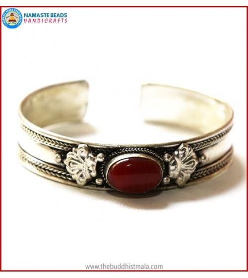 """""""Carnelian"""" White Metal Bracelet"""