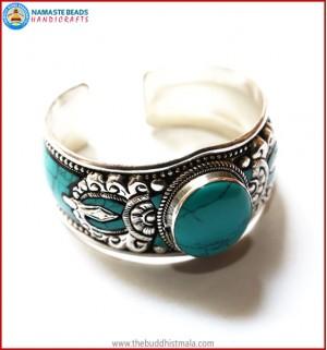 """Dorje"" & ""Turquoise"" White Metal Bracelet"
