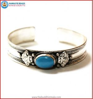 """Turquoise"" White Metal Bracelet"