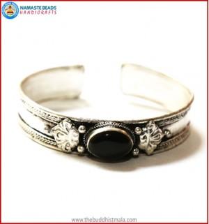 """Black Onyx"" White Metal Bracelet"