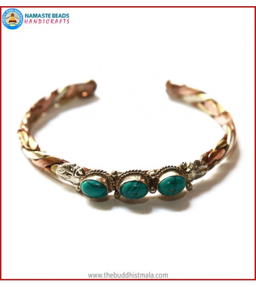 Three Turquoise 3 Metal Bracelet