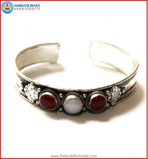 """Ruby"" & ""Moonstone"" White Metal Bracelet"