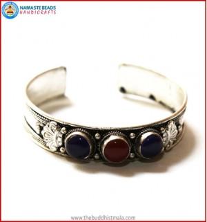 """Blue Onyx"" & ""Ruby"" White Metal Bracelet"