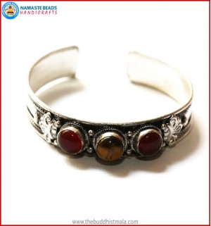 """Ruby"" & ""Tiger-Eye"" Stone White Metal Bracelet"