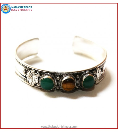 """Jade"" & ""Tiger-Eye"" White Metal Bracelet"
