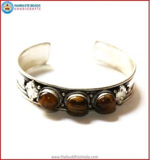"""Tiger-Eye"" White Metal Bracelet"