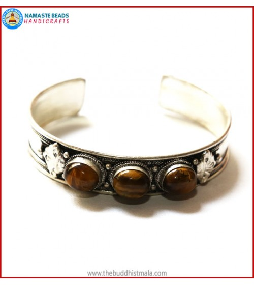 """Tiger-Eye"" White Metal Bracelet"