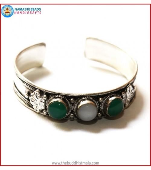 """Jade"" & ""Moonstone"" White Metal Bracelet"