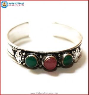 """Jade"" & ""Rose Quartz"" White Metal Bracelet"