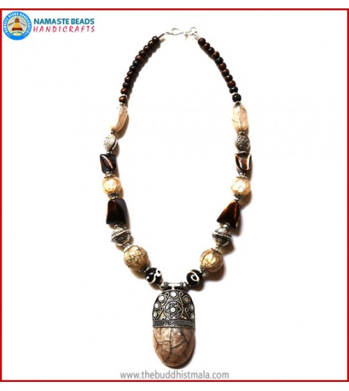 Horn & Resin Dzi Beads Necklace
