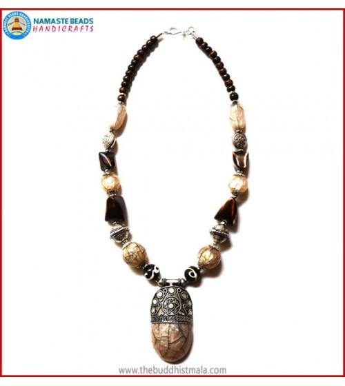 Horn & Resin Dzi Beads Necklace