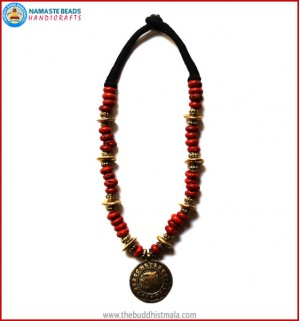 """Tibetan OM"" Brass Pendant Coral Necklace"