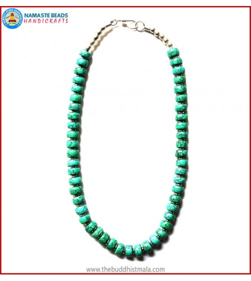 Flat Turquoise Beads Necklace