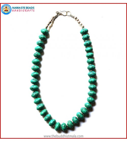 Flat Round Turquoise Beads Necklace