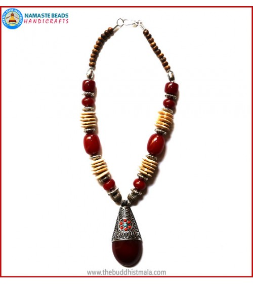 Bone & Resin Amber Necklace