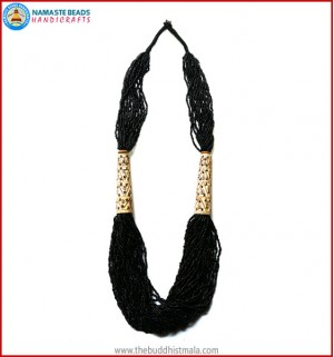 Black Beads & Carved Bone Necklace
