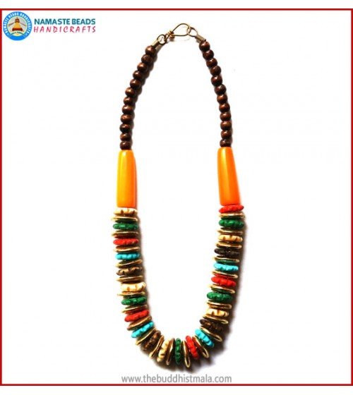 Mix Color Bone & Brass Beads Necklace