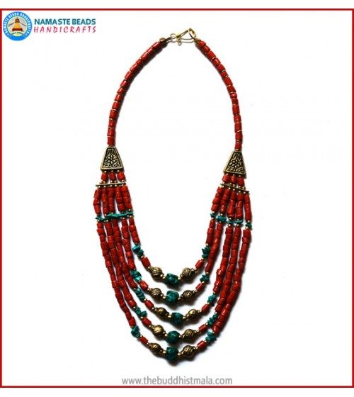 5 Layers Coral & Turquoise Necklace