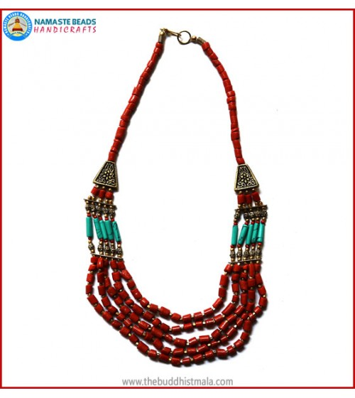 5 Layers Coral Necklace