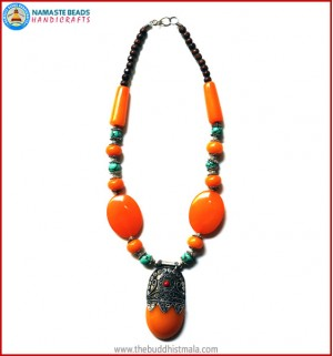 Turquoise Beads & Resin Amber Beads Necklace