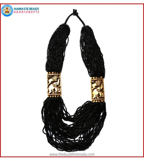 "Black Beads & ""Elephant & Lion"" Carved Necklace"