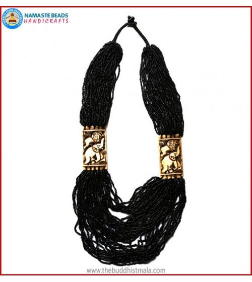 "Black Beads & ""Elephant & Lion"" Carved Necklace"