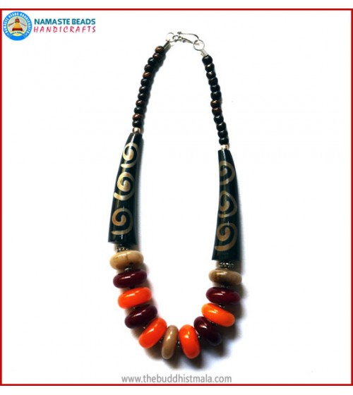 Horn & Resin Amber Necklace