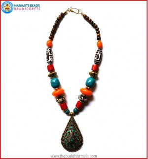 Dzi Beads & Inlaid Brass Pendant Necklace
